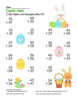 """Easter Math"" 2 Digit Addition With Regrouping - Common Core - Math Fun! (color)"