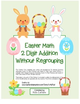 """Easter Math"" 2 Digit Addition Without Regrouping - Common Core - Fun! (color)"