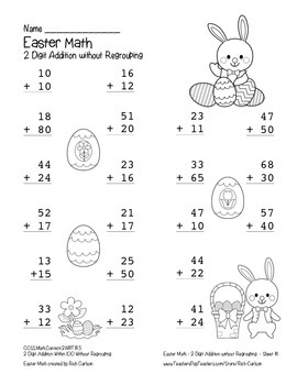 """""""Easter Math"""" 2 Digit Addition Without Regrouping - Common Core! (black line)"""
