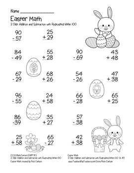 """""""Easter Math"""" 2 Digit Subtract & Add Regrouping -Common Core (color & blackline)"""