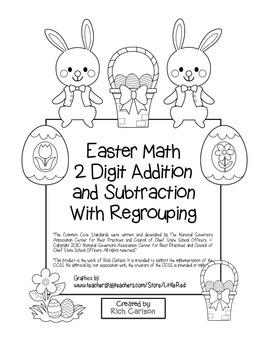 """""""Easter Math"""" 2 Digit Subtract & Add With Regrouping - Common Core! (black line)"""