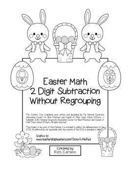 """""""Easter Math"""" 2 Digit Subtraction No Regrouping (color & black line)"""