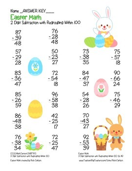 """""""Easter Math"""" 2 Digit Subtraction With Regrouping - Common Core -  FUN! (color)"""