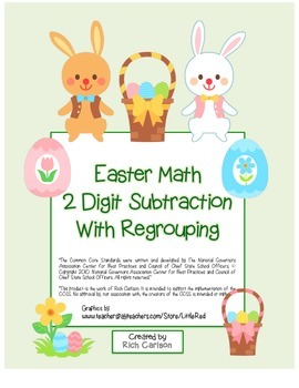"""""""Easter Math"""" 2 Digit Subtraction With Regrouping - Common"""