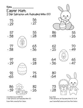 """""""Easter Math"""" 2 Digit Subtraction With Regrouping - Common Core! (black line)"""