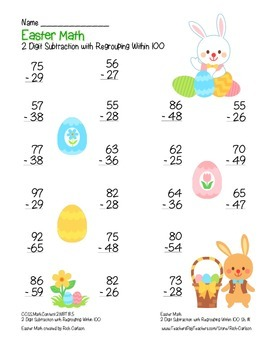 """Easter Math"" 2 Digit Subtraction With Regrouping Common Core (color& blackline)"