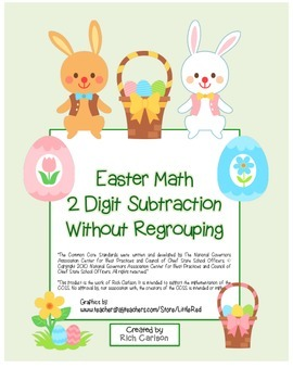 """Easter Math"" 2 Digit Subtraction Without Regrouping  (color)"