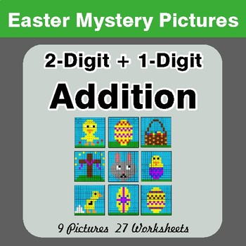 Easter Math: 2-digit + 1-digit Addition - Color-By-Number Mystery Pictures