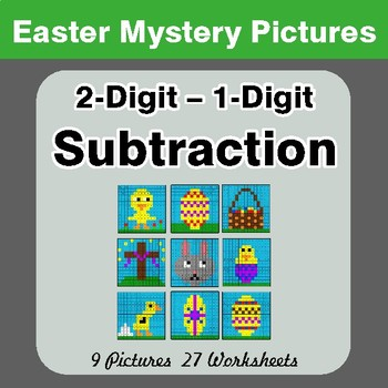 Easter Math: 2-digit - 1-digit Subtraction - Color-By-Number Math Mystery Pictures