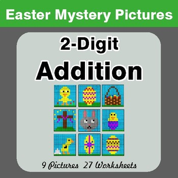 Easter Math: 2-digit Addition - Color-By-Number Math Mystery Pictures