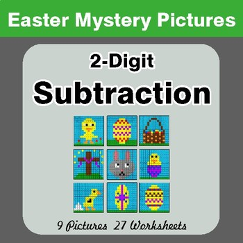 Easter Math: 2-digit Subtraction - Color-By-Number Math Mystery Pictures