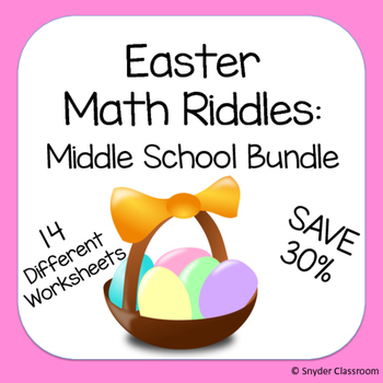 Easter Math Riddles: Middle School Bundle