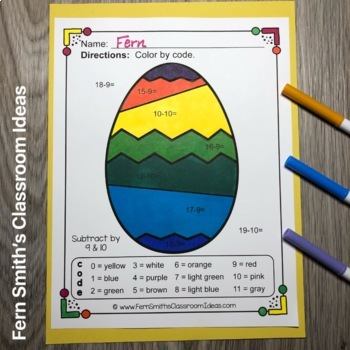 Color By Numbers Funky Easter Eggs Easter Subtraction