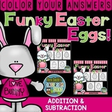 Color By Numbers Funky Easter Eggs Addition and Subtraction Bundle