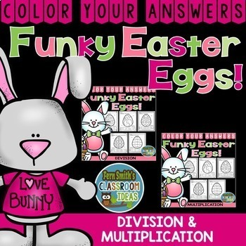 Color By Code Funky Easter Eggs Math Multiplication and Division Bundle