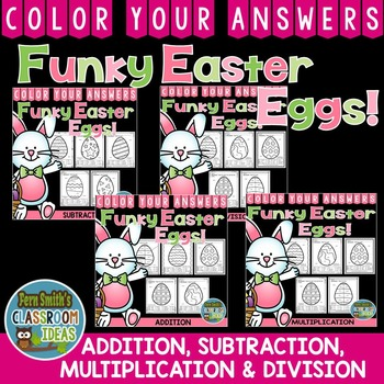 Color By Numbers Funky Easter Eggs Addition Subtraction Multiplication Division