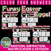 Color By Numbers Funky Easter Eggs Addition Subtraction Mu