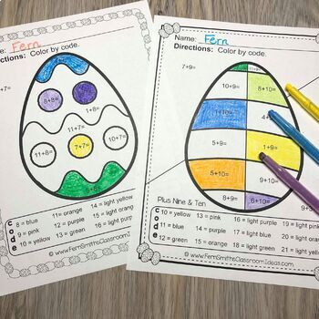 Color By Numbers Easter Eggs Addition