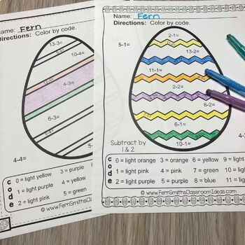 Color By Numbers Easter Eggs Subtraction