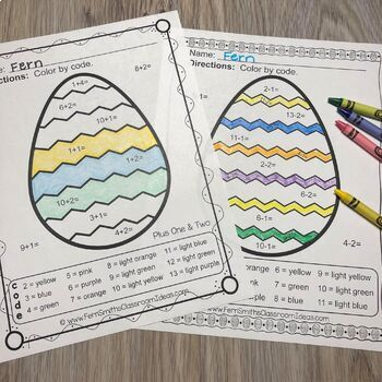 Color By Numbers Easter Eggs Addition and Subtraction