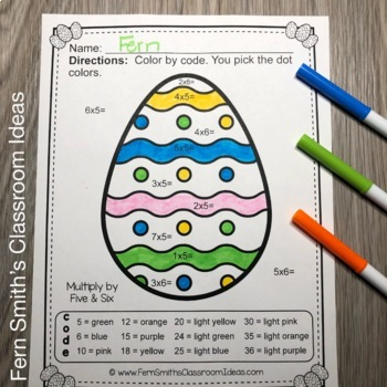 Color By Numbers Easter Eggs Multiplication