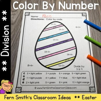 Color By Numbers Easter Eggs Division
