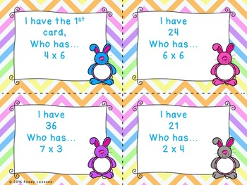 3rd Grade Easter I Have Who Has Easter Multiplication Game 3rd Grade