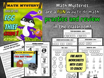 1st grade Easter Math Mystery Activity: Place Value, Numbers, Addition, Time