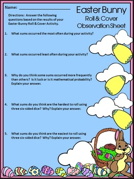 Easter Activities: Easter Bunny Easter Roll & Cover Spring Math Activity Packet