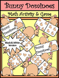 Easter Game Activities: Bunny Dominoes Spring Math Game Activity - BW