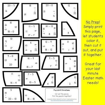 SUBTRACTION Egg Puzzles   Easter Math Games or FUN Worksheet Alternatives