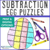 SUBTRACTION Egg Puzzles | Easter Math Games or FUN Workshe