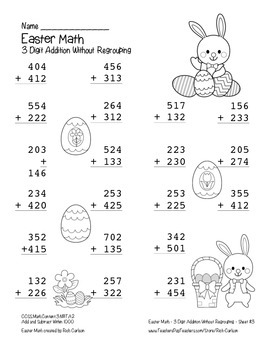 """""""Easter Math"""" 3 Digit  Addition No Regrouping  (color & black line)"""