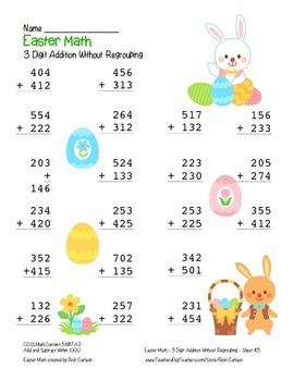 """""""Easter Math"""" 3 Digit  Addition Without Regrouping  (color version)"""