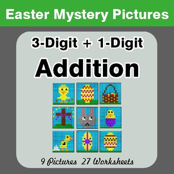Easter Math: 3-digit + 1-digit Addition - Color-By-Number Math Mystery Pictures