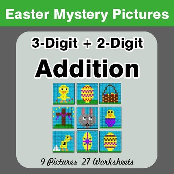 Easter Math: 3-digit + 2-digit Addition - Color-By-Number Mystery Pictures