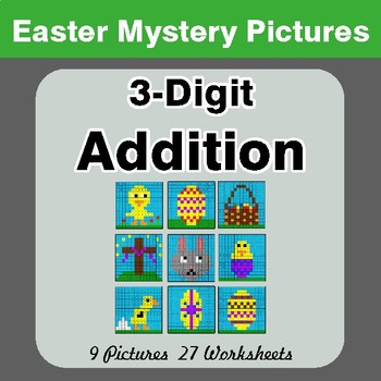 Easter Math: 3-digit Addition - Color-By-Number Mystery Pictures