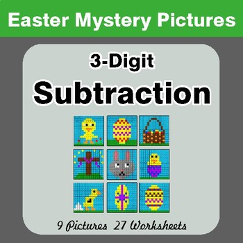Easter Math: 3-digit Subtraction - Color-By-Number Math Mystery Pictures