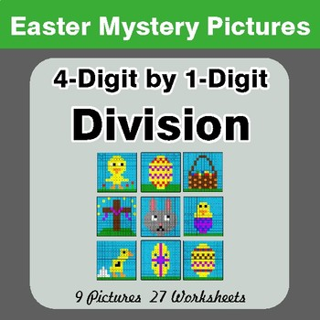Easter Math: 4-digit by 1-digit Division - Color-By-Number Mystery Pictures