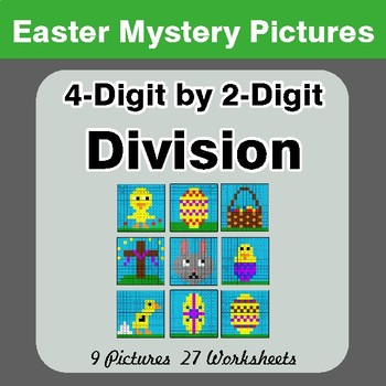 Easter Math: 4-digit by 2-digit Division - Color-By-Number Mystery Pictures