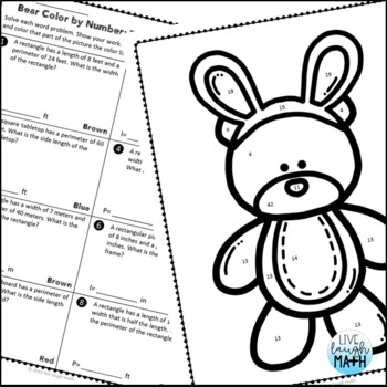 Easter Math: Area & Perimeter Color by Number Easter Activities