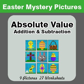 Easter Math: Absolute Value: Addition & Subtraction - Mystery Pictures