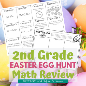 Easter Math Activity Egg Hunt Review for 2nd Grade