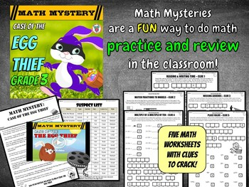 Easter Math Activity: Math Mystery - Case of The Egg Thief (GRADE 3)
