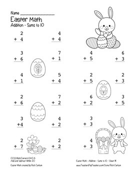 """Easter Math"" Add Within 10 - Common Core - Addition Fun! (black line version)"