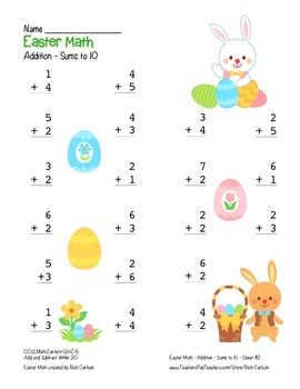"""""""Easter Math"""" Add Within 10 - Common Core - Addition Fun! (color version)"""