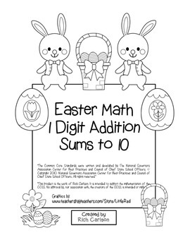"""""""Easter Math"""" Add Within 10 - Common Core - Fun! (color & black line)"""