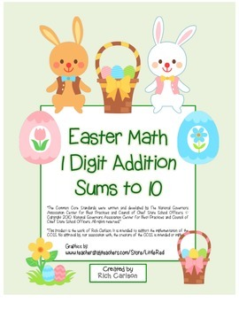 """Easter Math"" Add Within 10 - Common Core - Fun! (color & black line)"