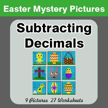Easter Math: Subtracting Decimals - Color-By-Number Math Mystery Pictures
