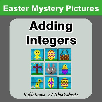 Easter Math: Adding Integers - Color-By-Number Math Mystery Pictures